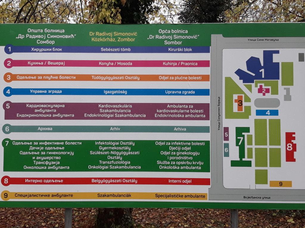 Постављене тројезичне табле и путокази у Општој болници Сомбор