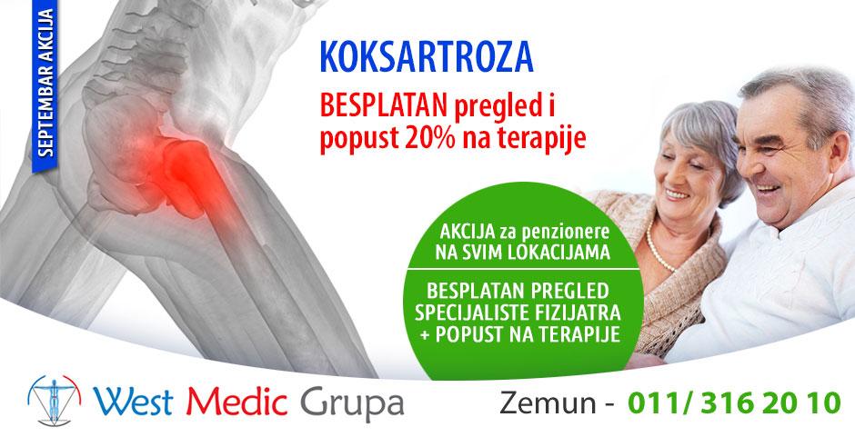 Septembarska akcija – koksartroza: besplatni pregledi za pacijente sa koksartrozom i 20% popusta na terapije